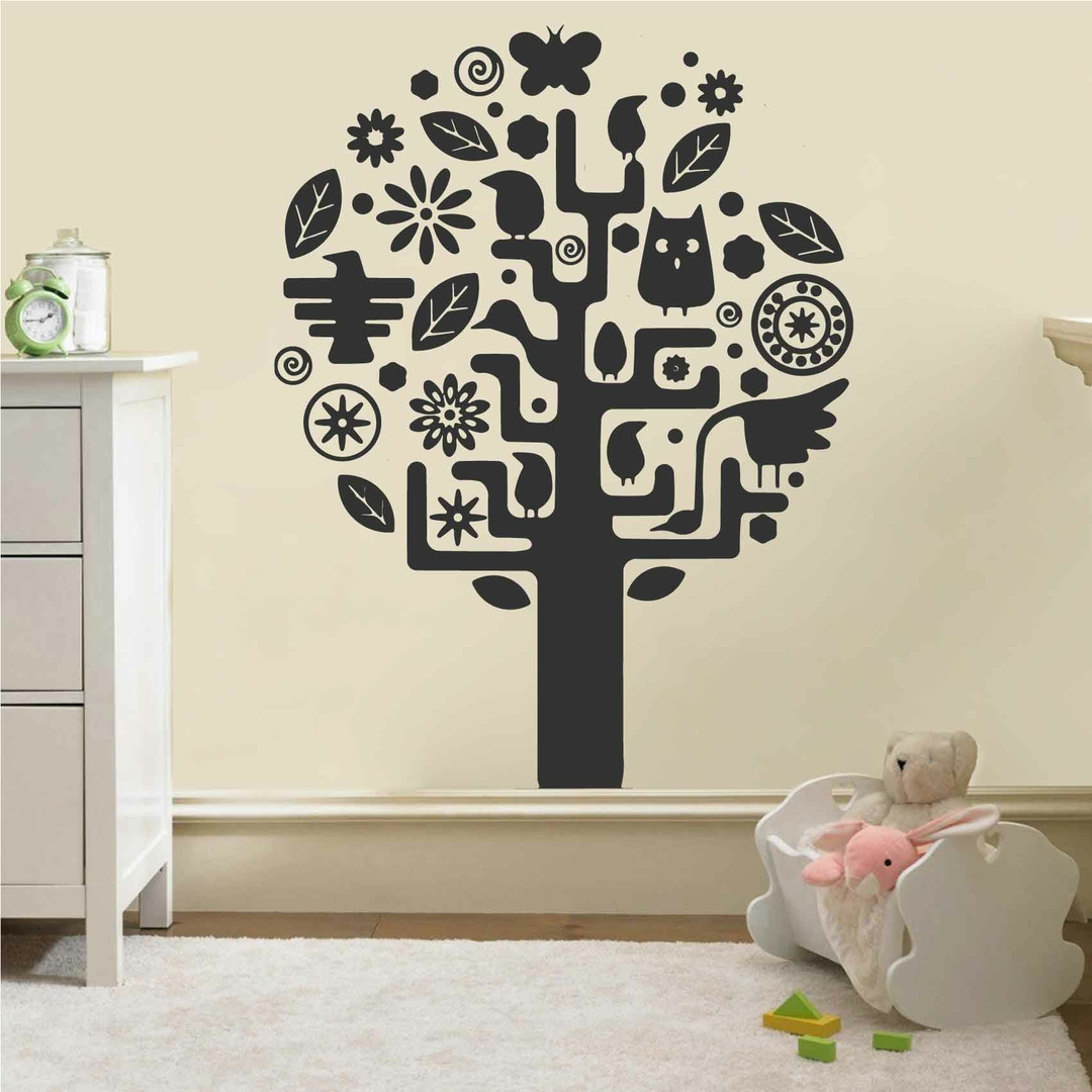 stickers chambre b b arbre autocollant muraux et deco. Black Bedroom Furniture Sets. Home Design Ideas