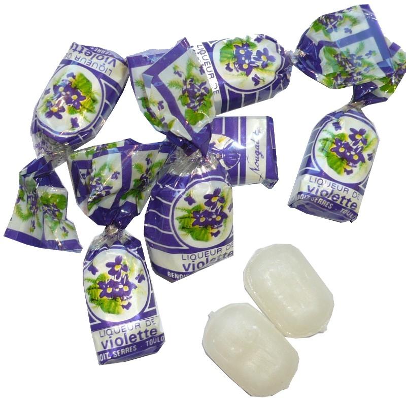bonbons fourrés à la liqueur de violette