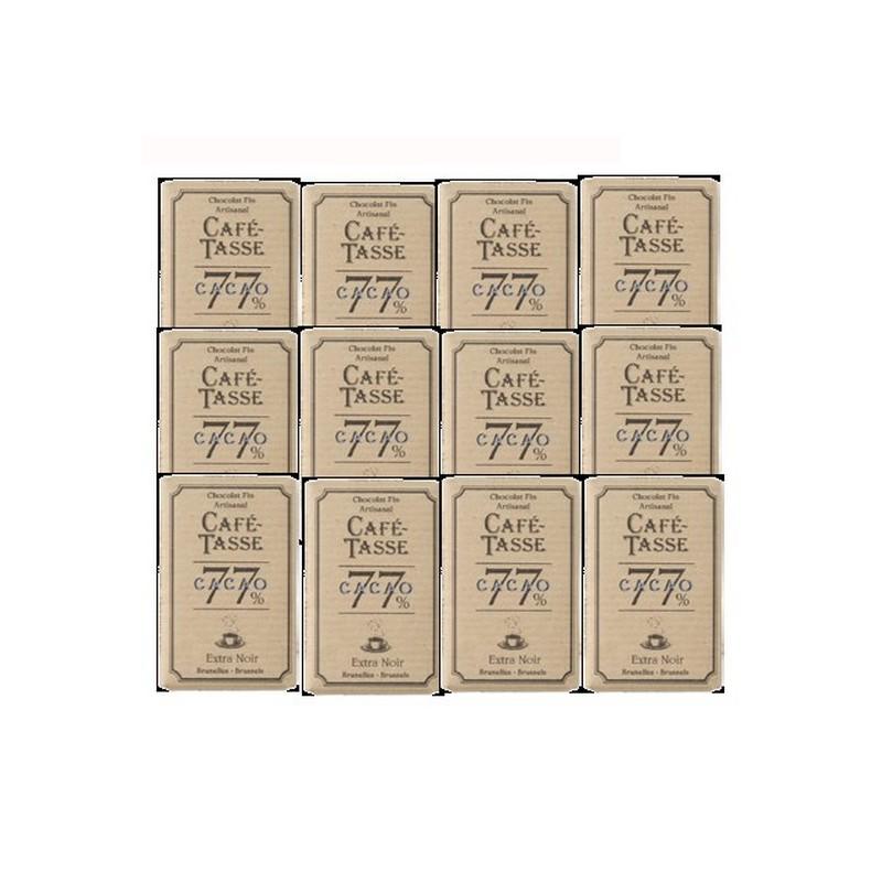 12 Mini tablettes de chocolat noir 77 % cacao
