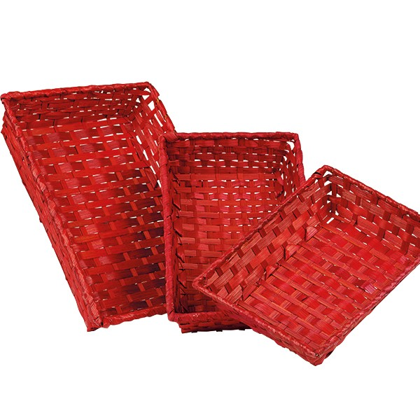 corbeille rouge bambou