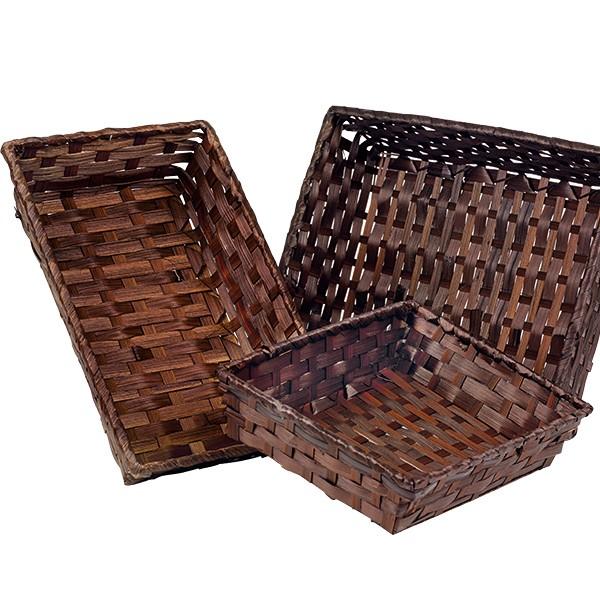corbeille bambou chocolat marron