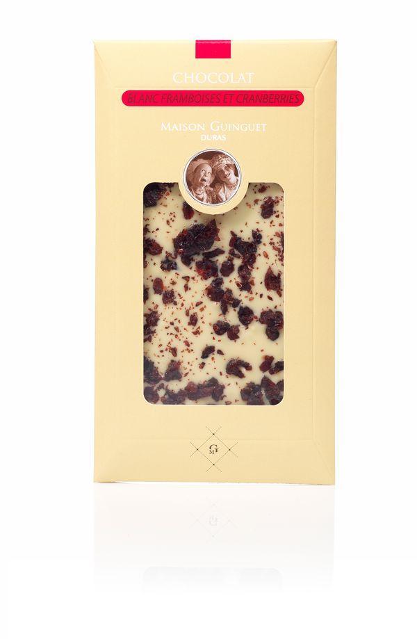 Chocolat Blanc framboises et cranberries
