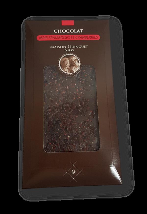 Tablette Chocolat noir Framboises Cranberries