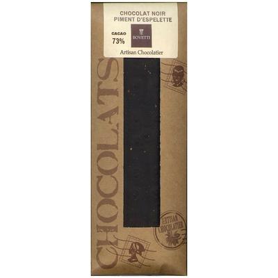 Tablette Chocolat Noir/Piment d'Espelette 73 % cacao