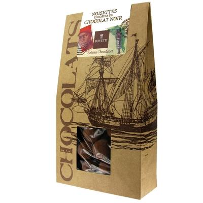 Noisettes enrobées de Chocolat noir et de cacao