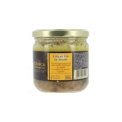 Coq au vin au vin de Maury sauce foie gras et compotée de marrons et girolles, 300 g
