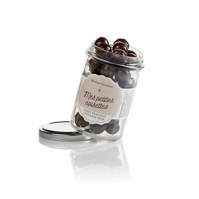 Noisettes enrobées de Chocolat noir et crêpe dentelle