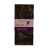 Tablette de chocolat noir et pétales de violette.
