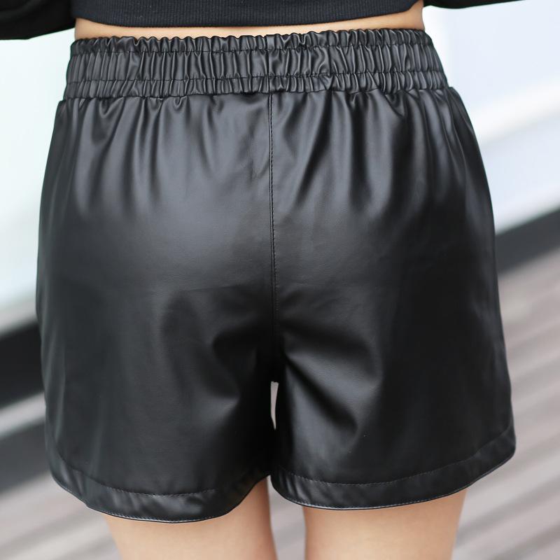 2017-Nouveau-PU-Cuir-Shorts-Femmes-de-Noir-de-Haute-Qualit-Court-pantalon-Avec-Poches-L