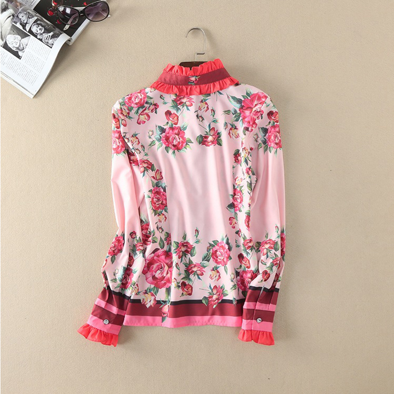 Fashion-Full-Sleeve-Shirts-2017-Summer-New-Luxury-Women-Pink-Sweet-Shirt-Floral-Printed-Ruffled-Collar