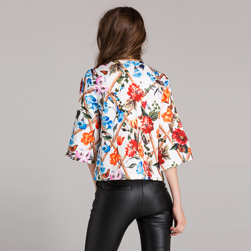 Vintage-Jacket-Jacquard-Fall-Winter-2018-New-Fashion-Women-Beading-Buttons-Countryside-Garden-Flower-Print-Short