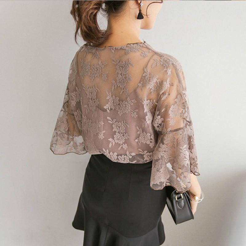 Mode-chaude-Femmes-Floral-Blouse-O-cou-Tops-Fleur-Brod-Chemisier-En-Mousseline-Crochet-dentelle-Deux