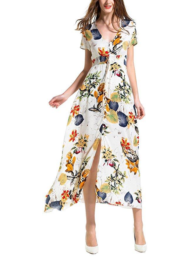 Boh-me-Imprim-floral-Longues-Femmes-Robe-de-Plage-Dames-Sexy-D-t-Bouton-Boho-Maxi