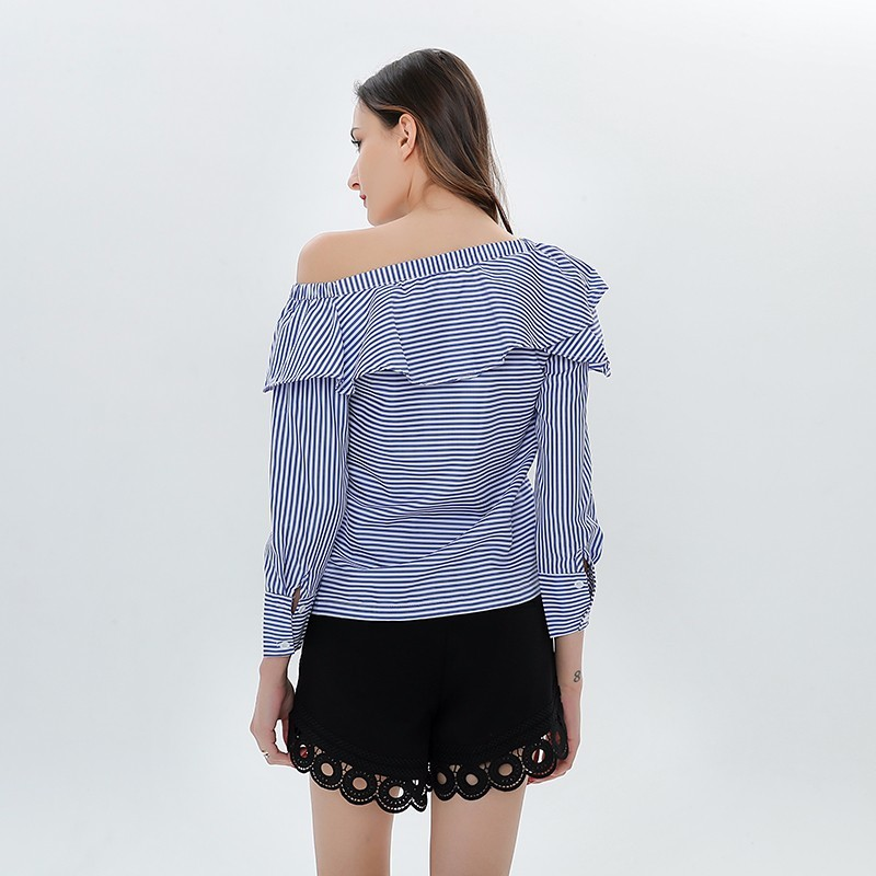 TWOTWINSTYLE-Off-paule-Sexy-Blouse-Volants-Ray-Femmes-de-Chemise-Manches-Longues-Tops-Femme-V-tements