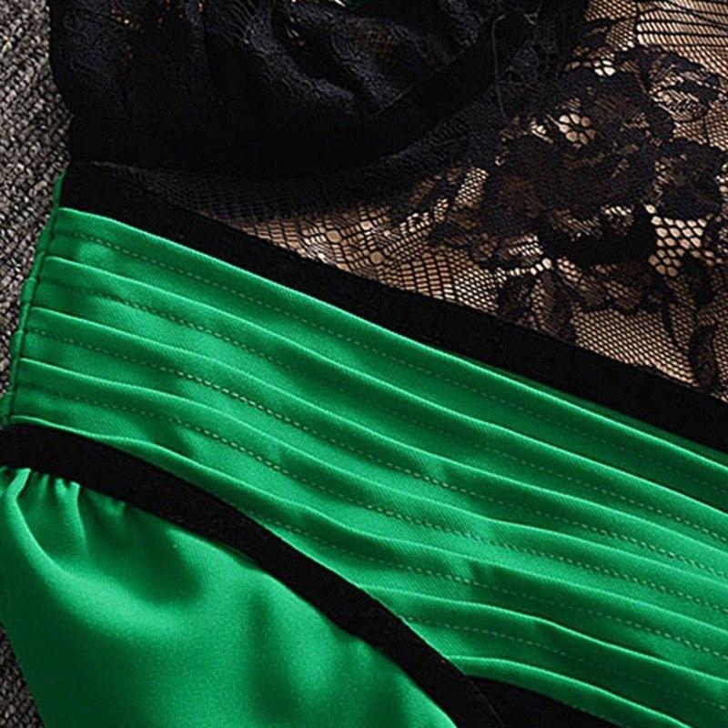CHICEVER-Patchwork-Velours-Robes-Femmes-Manches-Longues-Sexy-Dentelle-Mousseline-de-Soie-Parti-Robe-F-minine