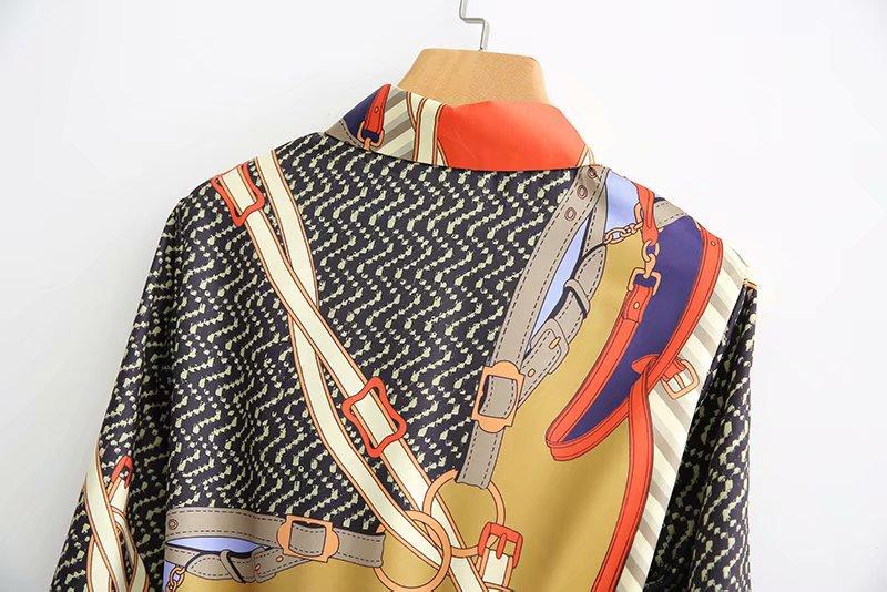 Automne-femmes-vintage-imprimer-shirtdress-l-che-3-4-manches-attach-arc-ceintures-longue-robe-robes