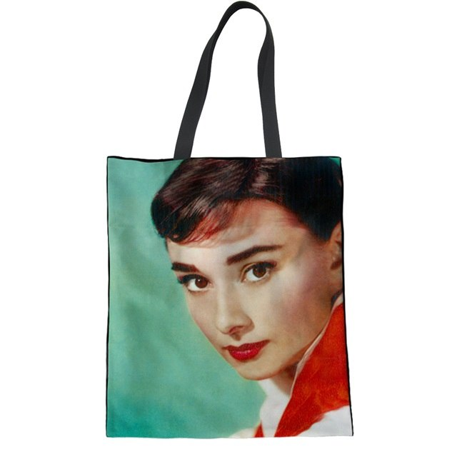 Coloranimal-Tissu-Femmes-Sacs-Main-Casual-Dames-R-utilisable-Pliage-Shopper-Sac-Audrey-hepburn-Impression-Femelle