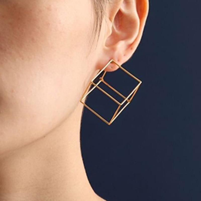 2018-Nouveau-Minimaliste-Bref-Style-De-Cuivre-Or-Argent-Noir-Rempli-3D-Cube-Boucles-D-oreilles