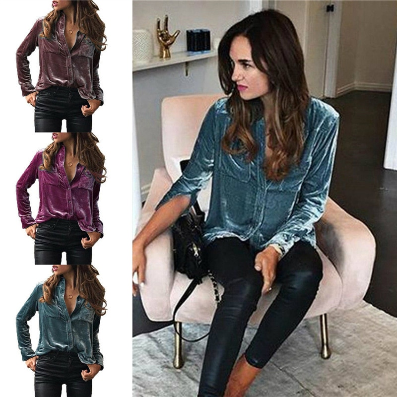 La-MaxZa-Femmes-Chemises-Automne-2018-Mode-Velours-Solide-Bureau-Lady-Vert-Bleu-Noir-Haute-Qualit