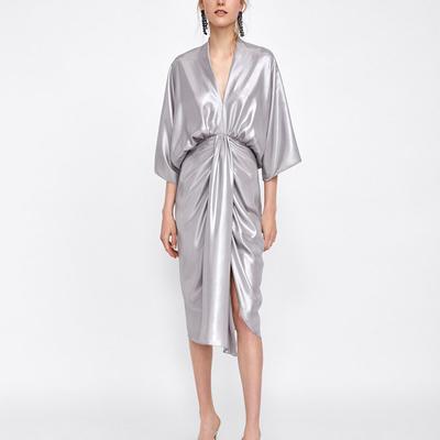 Robe Longue Kimono Argent ASYNA