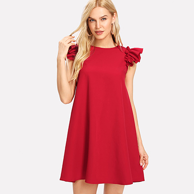 Robe Courte Babydoll Rouge Volantée CELSO