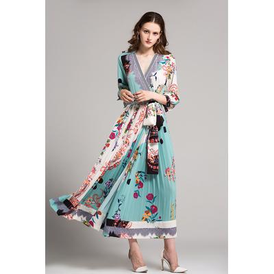 Robe Longue Fleurie Plissée Ceinturée HANAA
