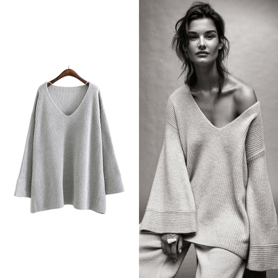 Pull Tricot Loose à Manches Longues Flare SOMEBODY