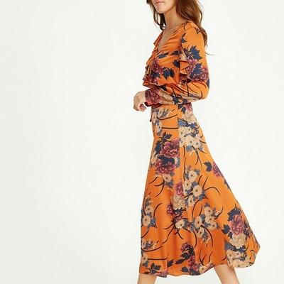 Robe Longue Orange Fleurie Volantée BETHANIA