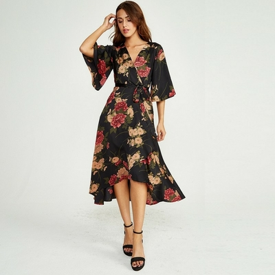 Robe Midi Noire Portefeuille Fleurie BETHANY