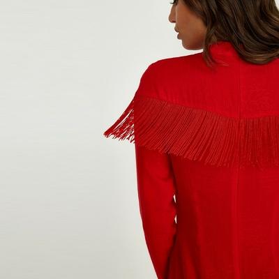 Robe Courte Rouge à Franges EDMON