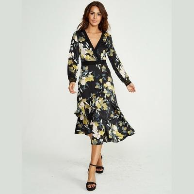 Robe Midi Noire Fleurie Volantée SASHA