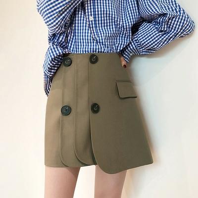Jupe Courte Taille Haute à Boutons 2 Coloris