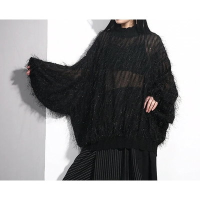 Pull Oversized Lurex Noir col montant à manches longues