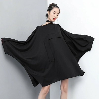 Robe Loose Oversized Noire à Manches Chauve-Souris