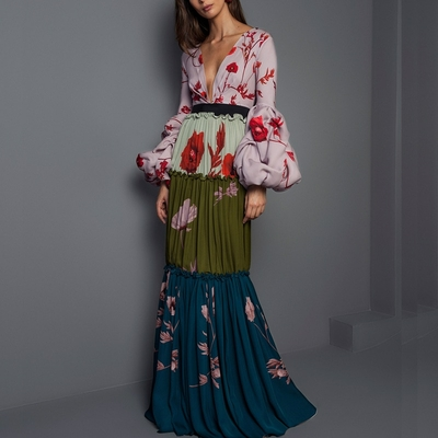 Robe Maxi Boho Fleurie à Manches Lanternes EDGA