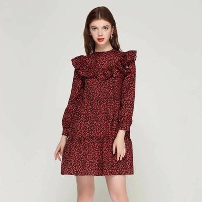 Robe Casual Volantée à motifs léopard 2 Coloris