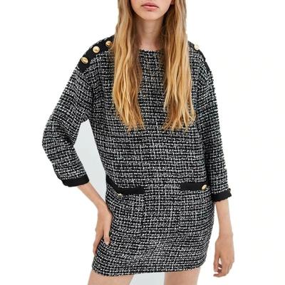 Mini Robe en Tweed à Poches et Boutons Esprit Vintage
