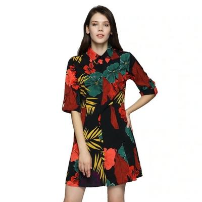 Robe Courte Ajustée Florale Tropicale ZENA
