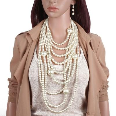 Maxi Sautoirs Superposés Rétro à Perles 2 Coloris