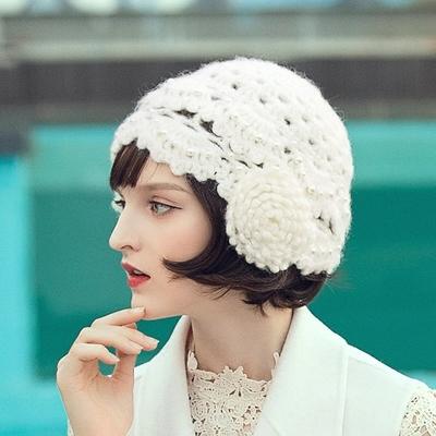 Chapeau Beret Tricot Coton Rétro à Perles Différents Coloris