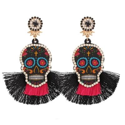 Boucles d'oreilles Pendantes Tête de Mort à Franges Différents Coloris