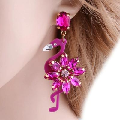 Boucles D'oreilles Pendantes Flamant Rose Cristal Différents Coloris