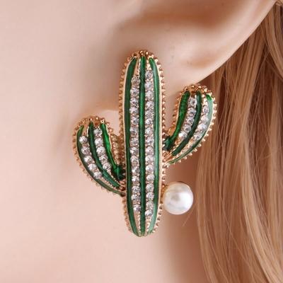 Boucles D'oreilles CACTUS Tropicales à Perles