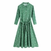 Casual-summer-women-dress-printed-dot-lapel-long-sleeved-dress-belt-decoration-Vestidos