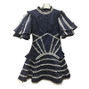 MENKAY-Sexy-Dos-Nu-Robes-Femmes-Col-montant-Manches-Courtes-Taille-Haute-Patchwork-Dentelle-Polka