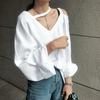 TWOTWINSTYLE-Off-paule-Femmes-Sweat-L-che-V-Cou-Chauve-Souris-Manches-Longues-Ray-Pull-Style