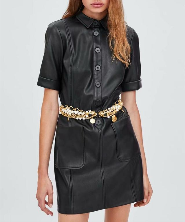 Femmes-vintage-en-cuir-pu-noir-manches-courtes-col-rabattu-deux-poches-bureau-dame-usure-mini