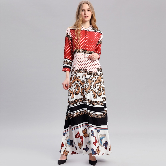 Femmes-Boh-me-Maxi-Manches-Longues-Casual-Robe-Vintage-Caftan-Islamique-Abaya-Musulman-robe-dot-impression