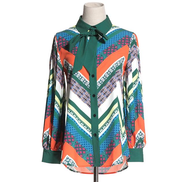 Mode-Nouveau-Bureau-De-Luxe-Chemises-2018-Piste-Longue-Lanterne-Manches-Dames-Tops-Contraste-Couleur-Arc