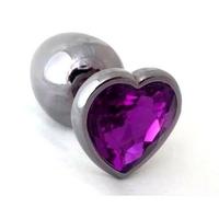 Plug anal  rosebud violet en forme de coeur taille L